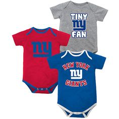Newborn New York Giants 3 Piece Creeper Set  - NFLShop.com. I don't have a baby - and I won't any time soon either! - but that doesn't mean I don't still totally want these!!