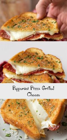 Take your favorite grilled cheese sandwich and stuff it turn it into a pepperoni pizza! This fun twist on a classic is stuffed with mozzarella, pepperoni and sandwiched between two pieces of buttery garlic toast. Lunch Recipes, Meat Recipes, Slow Cooker Recipes, Cooking Recipes, Healthy Recipes, Grilled Cheese Avocado, Grilled Cheese Recipes, Homemade Pizza Rolls, Soup And Sandwich