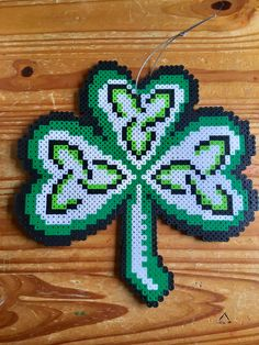 St Patrick's Day Perler Bead Shamrock Celtic Window Door Decoration