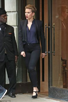 Stylish: Scarlett Johansson looked effortlessly chic in a cropped blazer teamed with tight...