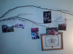 Family Tree Wall. Pictures hung with twine.