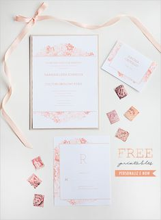 free watercolor printable invitation suite
