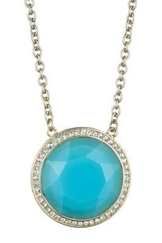Round Blue Glass Pendant Necklace