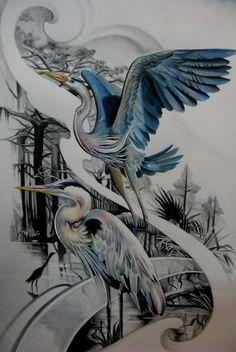Photos from Elvin Yong on Myspace: Japanese Tattoo Art, Japanese Art, Tattoo Sketches, Tattoo Drawings, Tattoo Studio, Heron Tattoo, Tatoo Bird, Crane Tattoo, Asian Tattoos