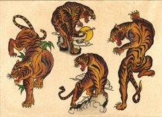 22 Ideas for tattoo traditional tiger art American Traditional, Traditional Ink, Belly Tattoos, Body Art Tattoos, Sleeve Tattoos, Tattoo Arm, Tattoo Sleeves, Tattoo Moon, Lion Tattoo