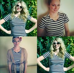 The Girls With Glasses — Stripes for Spring Girls With Glasses, Fresh Face, Ray Ban Sunglasses, Pretty People, Navy And White, Color Pop, Stripes, My Style, Striped Shirts