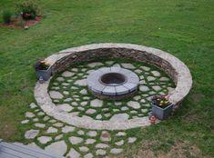 Kő és beton tűzrakó, kerek kialakítás - Kertberendezés - terasz, kert, medence, kültéri ötletek - Képgaléria | Lakberendezés, Lakberendező, Lakberendezési Ötletek, Építészet