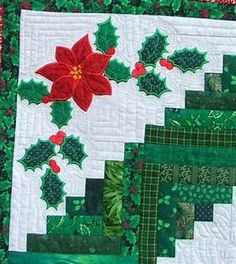 Christmas Scrap Log Cabin Quilt with Applique - Advanced ...