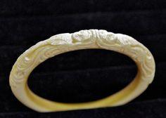 Gorgeous Antique Victorian Pre-Ban Carved Ivory Bangle Bracelet.