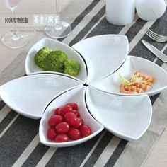 特纯白色骨瓷陶瓷酒店异形餐具西点心碟创意盘子组合碟子三角拼盘