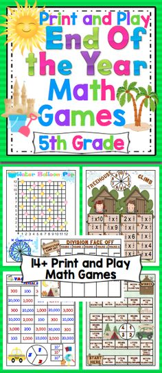 End of the Year 5th Grade Math Games - Your class will have a blast with this set of 14+ print and play math games. You can have fun and keep it academic until the end of the year! $
