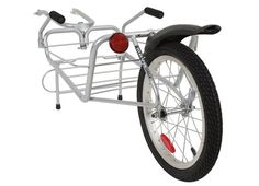 Maya Cycle bicycle trailer. Trailer weight 5.9kg.  Carrying capacity 30kg. Platform tray dimensions are L48cm x W38cm x H31cm.