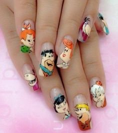 The Flintstones Nails I have no idea how someone has the patience to do that Disney Acrylic Nails, Disney Nails, Cute Acrylic Nails, Cute Nails, Pretty Nails, Crazy Nail Designs, Diy Nail Designs, Nail Polish Designs, Comic Nail Art