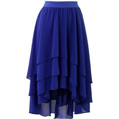 Chicwish Slant Tiered Blue Chiffon Skirt ($36) ❤ liked on Polyvore featuring skirts, blue, bottoms, tiered skirt, blue chiffon skirt, elastic waist skirt, blue skirt and layered skirt