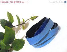 40 percent OFF SALE Blue leather wrap bracelet.. $6.00, via Etsy.
