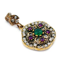 Silvesto India Emerald,Ruby And Topaz (Lab) 925 Sterling Silver With Bronze Pendant PG-7217 https://www.amazon.co.uk/dp/B01H5I56DU