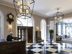 Oversized Bespoke lanterns at Queens Hotel Cheltenham MGallery Collection Regency Hotel, Public Hotel, Quality Hotel, Commercial Lighting, Pendant Light Fixtures, Industrial Interiors, Light Decorations, Lighting Design, Bespoke