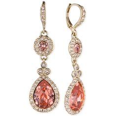 Givenchy Gold-Tone Rose Peach Crystal Double Drop Earrings ($48) ❤ liked on Polyvore