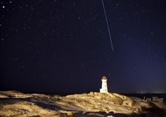 The International Space Station soars over Peggy's Cove lighthouse in Nova Scotia, Canada. The lighthouse in a Canadian icon. Beautiful Places To Visit, Places To See, Atlantic Canada, Cape Breton, Newfoundland And Labrador, Prince Edward Island, Vancouver Island, Great Lakes, Nova Scotia