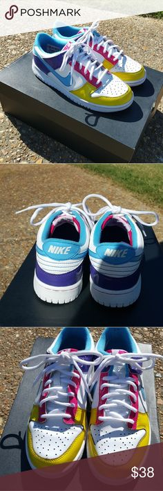 Nike shoes Nike girl shoes yellow/pink/light blue in good condition for the price Sz 6 EUR 38.5 CM 24 no damage to the shoes at all Nike Shoes Sneakers