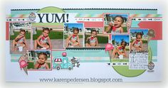 layout by Karen Pedersen using CTMH Blossom paper 8 pics Scrapbook Patterns, Scrapbook Layout Sketches, Kids Scrapbook, Scrapbook Paper Crafts, Scrapbooking Layouts, Scrapbook Pages, Scrapbook Designs, Scrapbook Embellishments, Paper Crafting
