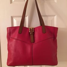 Ralph Lauren Red Leather Shoulder Tote Bag Gold hardware.  Snap closure.  3 compartments (middle zips).  4 interior pockets (1 snaps, 1 zips).  Leather.  Excellent condition.  Measures: 13x6x10x10. Ralph Lauren Bags Shoulder Bags
