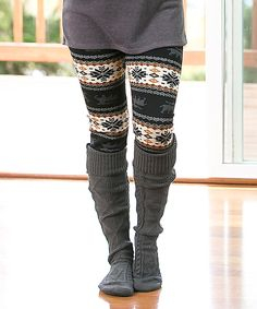 Look what I found on #zulily! Black Snowflake & Reindeer Leggings by CoziBear Boutique #zulilyfinds