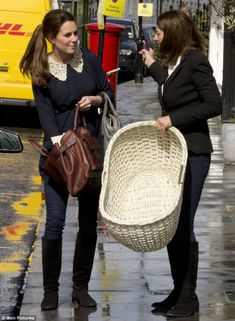 Duchess of Cambridge and mother Carole pictured buying baby nest after enjoying lunch at Mediterranean restaurant.