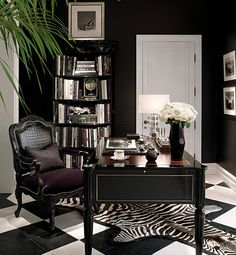 Chic Home Office; dramatic black and white floor and decor This room is great be… – Chic Home Office Design Suppose Design Office, Home Office Design, Home Office Decor, House Design, Office Designs, Office Style, Office Furniture, Office Ideas For Work Business Decor, Home Office Paint Ideas