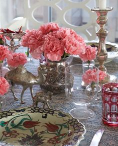 Pink carnations, eclectic mix