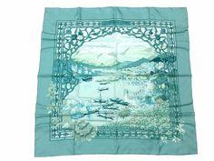 Auth Excellent HERMES Scarf 100%Silk LE FLEUVE SACRE Green Multi-Color Box 28619 #HERMES #Scarf