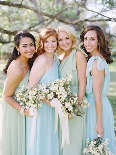 Bridesmaids wearing MINT & SEAGLASS Little Borrowed Dresses for the Southern Weddings shoot