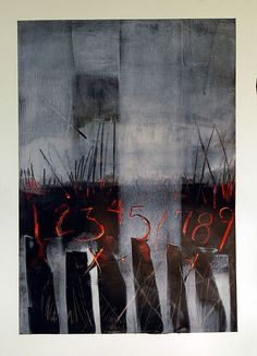 Karen L Darling | unknown title | cold wax, oil, charcoal and other mixed media /sm
