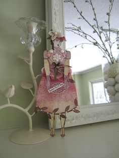 Pink Paper Doll  Victorian Diecut Stamped Doll by AvantCarde, $32.00
