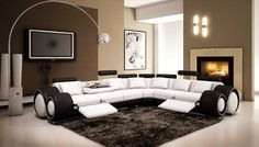 4087 - Black and White Bonded Leather Se...