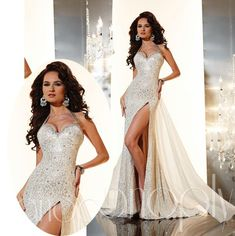 2015 Luxury White Silver Sweetheart Halter With Sequins And Crystals Side Split Prom Dresses Evening Dresses Formal Gowns Chiffon A-line, $175.08   DHgate.com