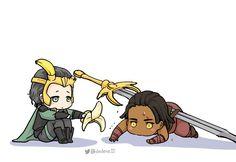 Loki and Heimdal Baby Marvel, Captain Marvel, Marvel Avengers, Baby Loki, Marvel Couples, Thor X Loki, Avengers Outfits, Avengers Pictures, Tom Hiddleston Loki