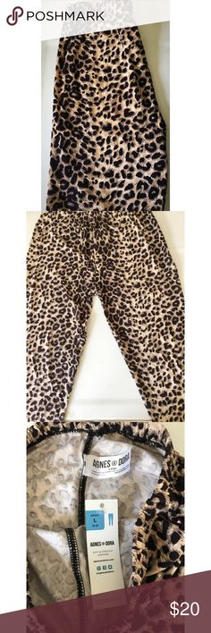 NWT Agnes & Dora Leopard Print Leggings These are NWT Agnes & Dora Leopard Print Leggings. Buttery soft and brand new! These run a little smaller than the typical L from A&D-- would fit S/M better, so I have listed them as such. This is the only reason why I am selling them-- they don't fit me. From smokefree home. Size chart attached for your convenience. Thanks for stopping by! Agnes & Dora Pants Leggings