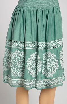 Green Floral Gathered Silk-Blend Skirt