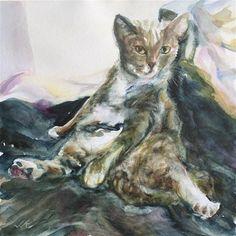 "Daily+Paintworks+-+""Murray,+Cat+Reclining""+-+Original+Fine+Art+for+Sale+-+©+jean+krueger"