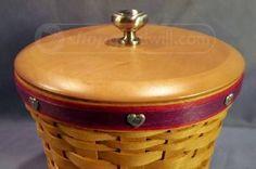 shopgoodwill.com: Longaberger Canister Basket Purple Trim w/ Hearts