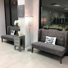 Our waiting area is complete  Thank you @society6 for these amazing throw pillows