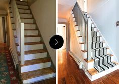 Wooden stairs with painted stripes updating interior staircase painting ideas transforming boring wooden stairs: 31 stair decor ideas to make your hallway Interior Staircase, Staircase Design, Staircase Ideas, Stairs Architecture, Hallway Ideas, The Doors, Giada De Laurentiis, Browning, Transformers