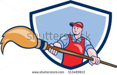Illustration of an artist painter holding a giant paintbrush set inside shield crest on isolated background done in cartoon style. #painter #cartoon #illustration