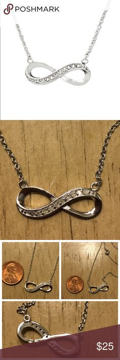 💎Real Diamond Infinity Pendant Necklace💎 Small and Delicate Diamond embedded sterling silver Infinity pendant necklace from Macy's. Can be worn alone or layered. 1/10 c.t. Total weight. $100 Retail   💎💎💎  **its the real deal! i received as a bridesmaids gift and already have an infinity necklace - so I don't need two! ** 💎💎💎http://www1.macys.com/shop/product/diamond-pendant-sterling-silver-diamond-infinity-1-10-ct.-t.w.?ID=512812 Macy's Jewelry Necklaces