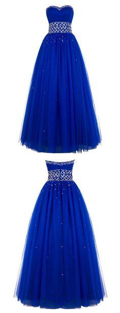 プロムイブニングドレス、寛大なウエディングドレス、スウィートハートウエディングドレス、ボールドレスウエディングドレス、ロイヤルブルーウエディングドレス、チュールビーズロングウエディングイブニングドレス