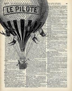Vintage Hot Air Baloon by DictionaryArt