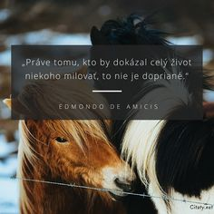 Práve tomu, kto by dokázal celý život niekoho milovať, to nie je dopriané. - Edmondo De Amicis