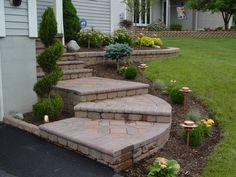 front steps design ideas | Westside Professional Landscape: Photos Front Porch Steps, Front Stairs, Front Porches, Verge, Outdoor Steps, Exterior Stairs, Landscape Architecture Design, Deck With Pergola, Front Entrances