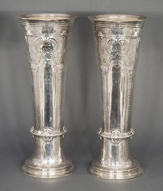 "PAIR TIFFANY & COMPANY STERLING SILVER VASES, 22"" HEIGHT"